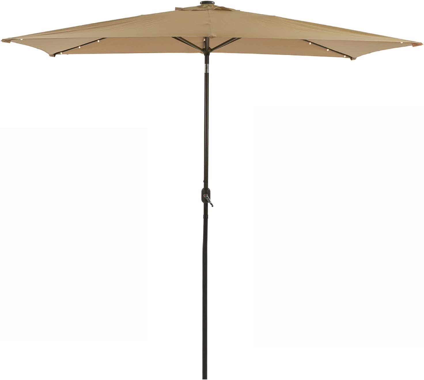 MISSBRELLA 10 x 6.5ft Solar Patio Umbrella 26 LED Lighted Market Table Steel Rectangular Umbrella with Push buntton Tilt and Crank, 6 Ribs for Garden Deck Backyard Pool, Beige