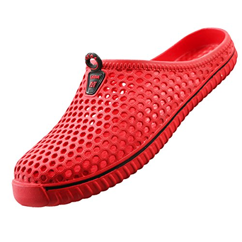 Lewhosy Women's Garden Clogs Shoes Slippers Sandals Quick Drying Lightweight Breathable Red