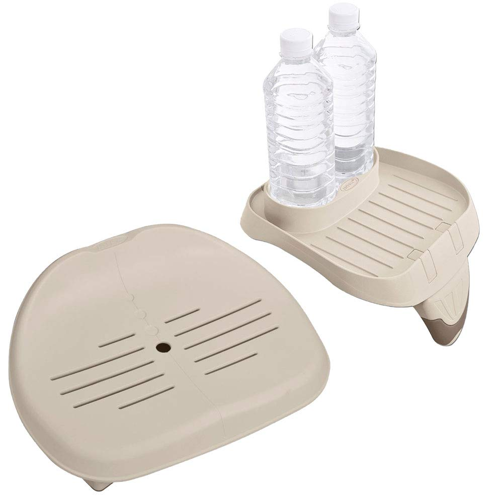 Intex Removable Slip-Resistant Seat for Inflatable Pure Spa Hot Tub | 28502EIntex PureSpa Attachable Cup Holder and Refreshment Tray Accessory | 28500E