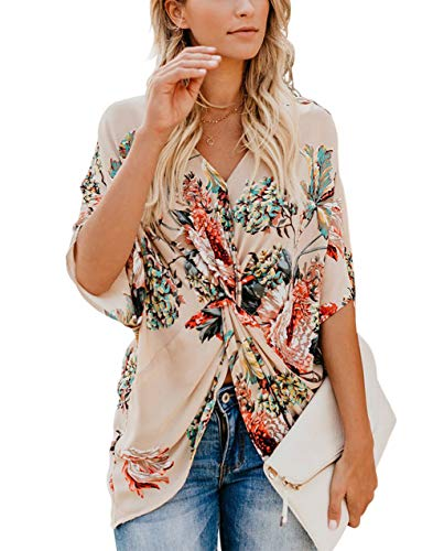 Unicoter Women's Casual Floral Print Shirts Short Sleeve V Neck Twist Tops and Blouse (Apricot Large)