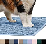 Gorilla Grip Original Premium Durable Cat Litter Mat (35x23), XL Jumbo, No Phthalate, Water Resistant, Traps Litter from Box and Cats, Scatter Control, Soft on Kitty Paws, Easy Clean Mats (Light Blue)