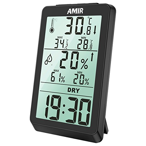 AMIR Digital Hygrometer, Indoor Thermometer Humidity Gauge, With Temperature Humidity Gauge & Backlight Monitor Sensor Room Thermometer for Home, Bedroom, etc. (Trend Weather Station Weather)