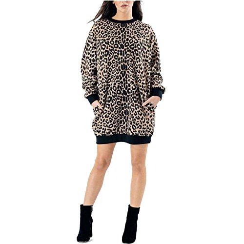 Over Sized Women Sweatshirt Printed Long Pocket Camouflage PRINT Leopard Ladies Sleeve LEOPARD HqwwxI1g