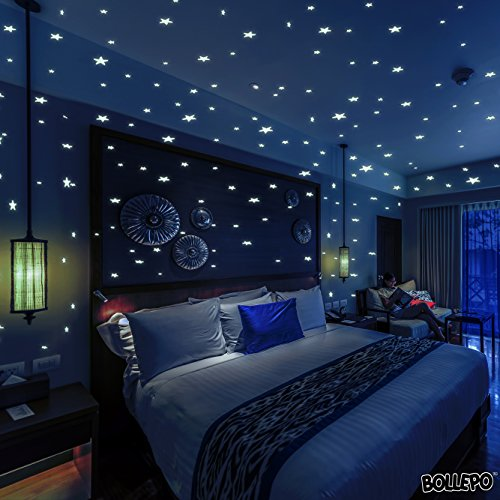 Glow In The Dark Stars Wall Stickers, 332 Adhesive Realistic 3D Stars and Dots for Starry Sky, Perfect For Kids Bedroom or Birthday Gift, Beautiful Glowing Wall Decals by BOLLEPO