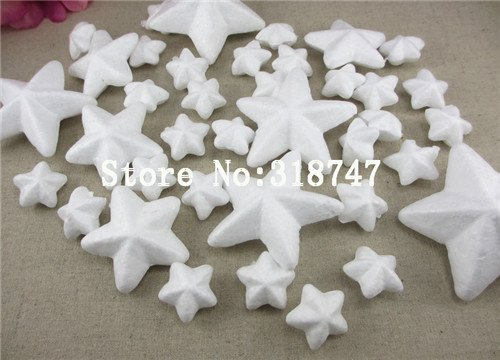 40pcs/lot Mixed Size Natural White Styrofoam Stars