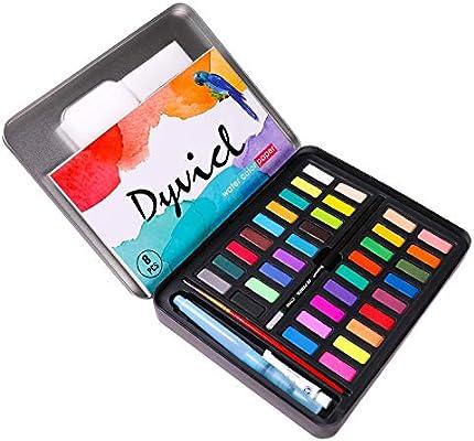 Dyvicl - Juego de pintura para acuarelas (36 colores vivos (en caja de lata) con pincel de agua, papel de acuarela, kit de acuarela para adultos, estudiantes, principiantes: Amazon.es: Hogar