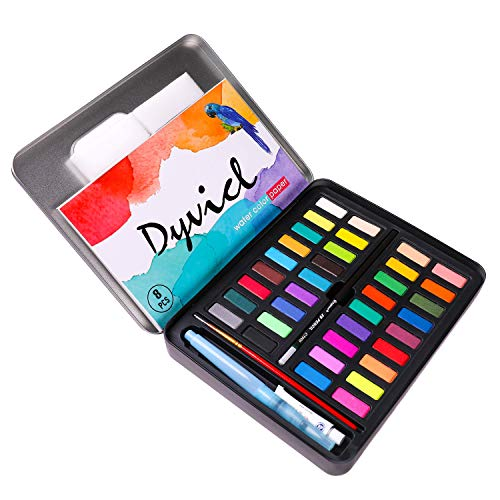 Dyvicl Watercolor Paint Set - 36 Vivid Colors (in Pocket Tin Box) with Water Brush Pen, Watercolor Paper, Watercolor Kit for Adults, Students, Beginners