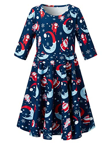 (Toddler Girl's Christmas Dress Santa Moon Star Snowflake Navy Blue Sky 3/4 Sleeve Dress for Kids 8-9)