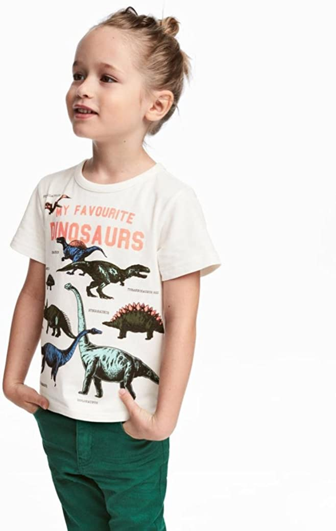 Wanshop Boys Tops Toddler Children Fashion Cartoon Dinosaur Print Short Sleeve T-Shirt Tops Outfits Blouse Clothes for 1-6 Years Old