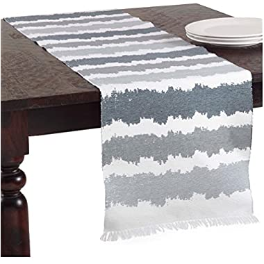 La Spezia Ribbed Ombré Cotton Table Runner (blue-grey)