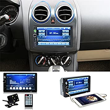 7010B universal 2 DIN Auto MP5 reproductor Video Player pantalla táctil Auto Audio estéreo multimedia FM/MP5/USB/AUX/Bluetooth Cámara: Amazon.es: ...