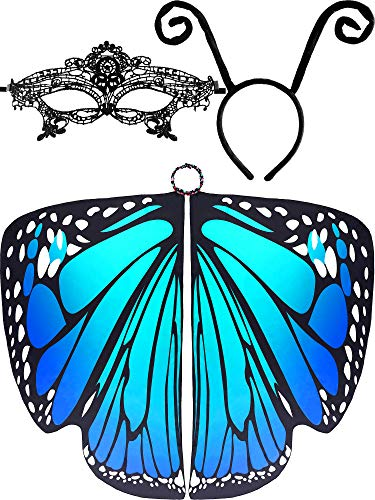 Quick And Easy Costume Ideas For Halloween (3 Pieces Butterfly Wings Shape Shawl Cloak Ant Antenna Headband Lace Mask for Costume Accessory (Color Set)