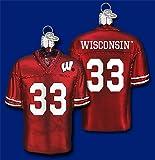 NCAA Wisconsin Badgers #33 Cardinal Glass Football Jersey Ornament