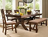 Roundhill-Furniture-Karven-6-Piece-Solid-Wood-Dining-Set-with-Table-4-Chairs-and-Bench