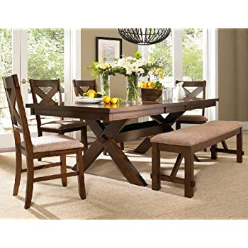 Roundhill Furniture Karven 6 Piece Solid Wood Dining Set with Table  4 Chairs and Bench Amazon com Dark Oak Chair