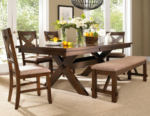 "Roundhill Furniture Karven 6-Piece Solid Wood Dining Set with Table, 4 Chairs and Bench - 6-piece package includes the table, 4 chairs and 1 bench Expansive tabletop, 42"" x 72"" x 30"" tall; 18"" butterfly leaf, with Leaf: 42"" x 90"" x 30"" tall Chair: 17 x 18.5 x 39.5'', Bench: 60 x 16 x 20.25''; Solid wood with beautiful dark hazelnut finish - kitchen-dining-room-furniture, kitchen-dining-room, dining-sets - 51HL4aKlohL -"