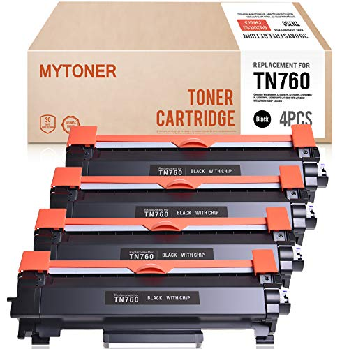 2550 Imaging Drum - Mytoner 4PK TN-760 with CHIP Compatible for Brother TN760 TN730 High Yield Toner Cartridge - Brother HL-L2395DW HL-L2350DW MFC-L2710DW MFC-L2730DW MFC-L2750DW HL-L2390DW HL-L2370DW DCP-L2550DW Printer