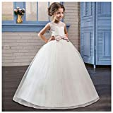 Vim Tree001 Princess Lace Long Dresses for Wedding Party Girls Pageant Ball Gowns Pink 4-5 Years