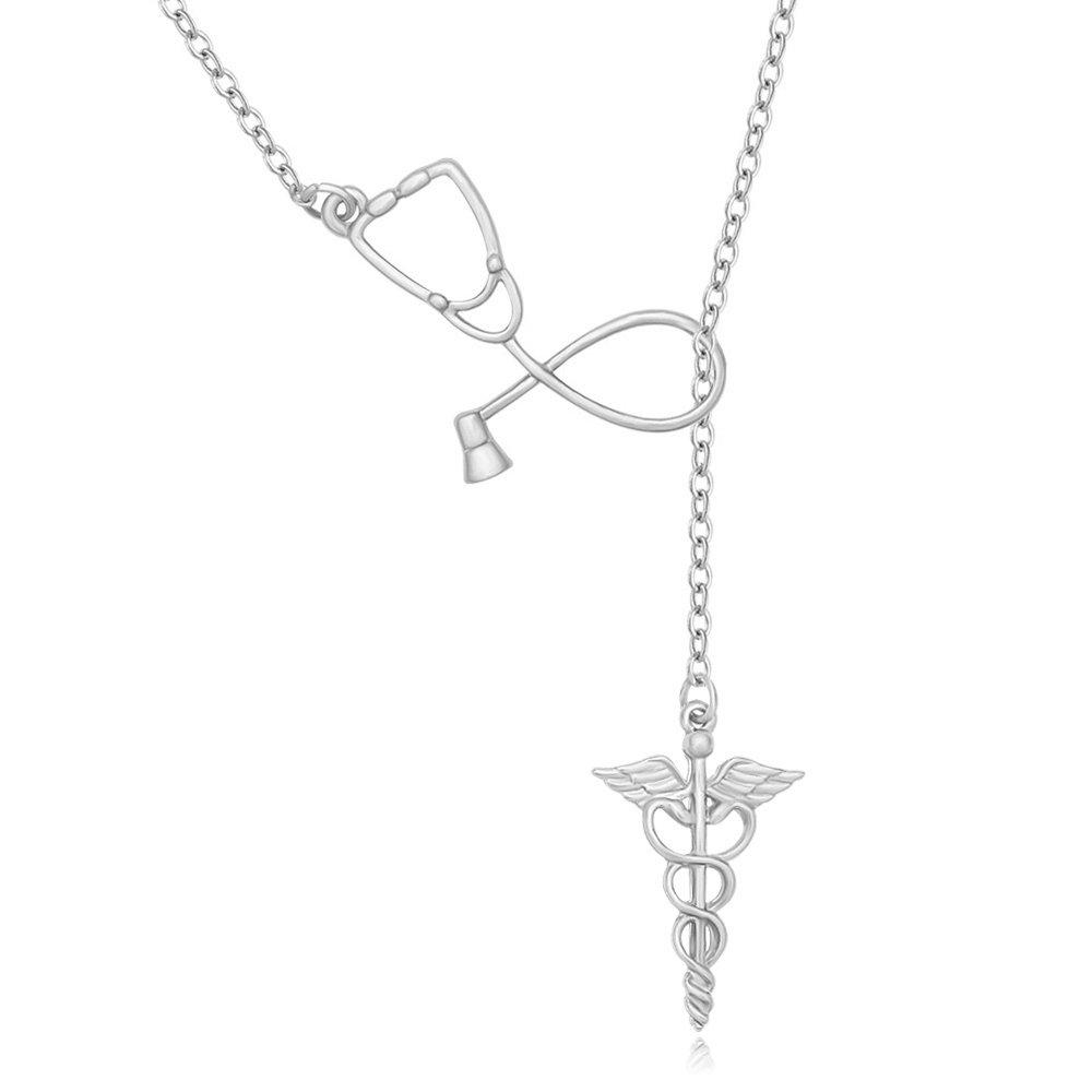 MANZHEN Medicine Stethoscope Caduceus Lariat Necklace for Doctor Nurse (silver)