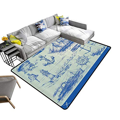 (Nautical Anchor Print Area Rug Whale Sail Boat Steering Wheel and Old Lighthouse Fishing Theme Sketchy Artwork Indoor/Outdoor Area Rug 5'x7'(W150cmxL210cm) Blue)