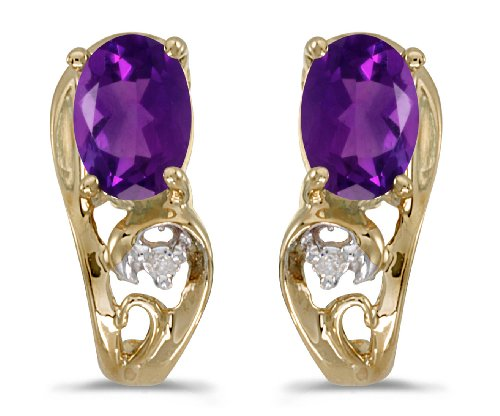 White Filigree Ring Gold Amethyst - 0.68 Carat (ctw) 14k Yellow Gold Oval Purple Amethyst and Diamond Filigree Stud Earrings with Post with Friction Back (6 x 4 MM)