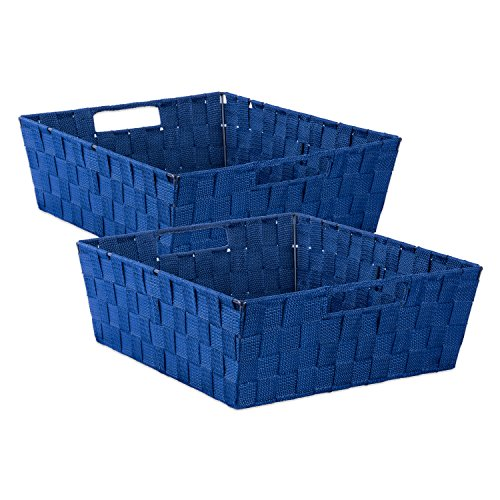 DII Durable Trapezoid Woven Nylon Storage Bin or Basket for Organizing Your Home, Office, or Closets (Tray - 13x15x5) Navy - Set of 2