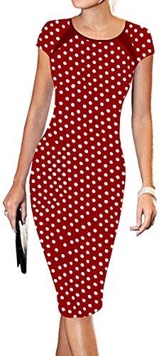 - LunaJany Women's Polka Dot Print Sexy Wear to Work Office Career Sheath Midi Dress XL red Polka dot