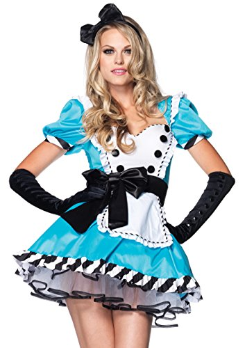 Leg Avenue Women's 2 Piece Charming Alice Costume, Blue, Small/Medium - Women In Sexy Halloween Costumes