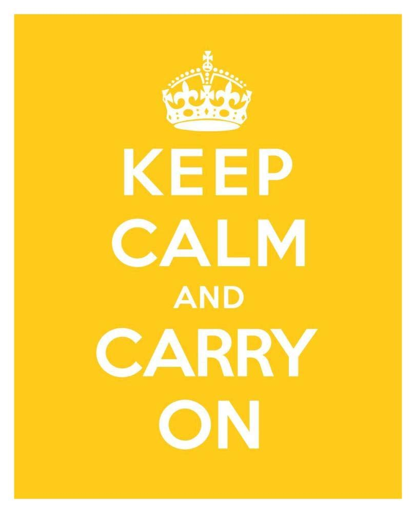 Amazon.com: Global Gallery Keep Calm and Carry On - Yellow-Paper Art ...