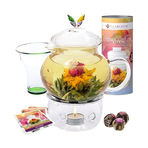 Teabloom Wings Of Love Blooming Tea Gift Set 40 Oz Borosilicate