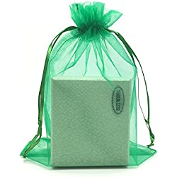 "SUNGULF 100pcs Organza Pouch Bag Drawstring 6""x9"" 16x22cm Strong Gift Candy Bag Jewelry Party Wedding Favor (Dark Green)"