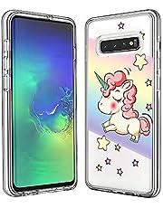 FAWUMAN Funda para Samsung Galaxy S10, Transparente [Anti-Choque] [Anti-arañazos] Silicona Suave TPU Bumper y Duro PC Dos en Uno Protectora Funda con Tarjeta de Dibujos Animados (Caballo Arcoiris)
