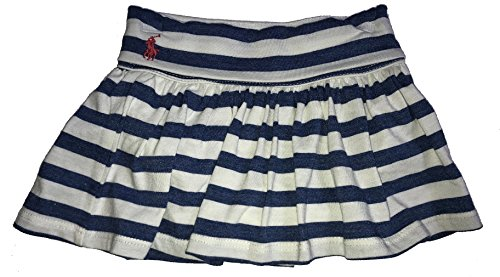 Polo Ralph Lauren Baby Girl Striped Pull On Skirt with attached Bloomer Blue and Cream (9 Months)