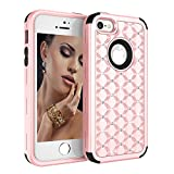 iPhone SE/5S/5 Case, UZER 3in1 Shockproof Drop-Protection Luxury Glitter Sparkle 3D Bling Hard PC Soft Silicone Combo Hybrid Impact Defender Full-Body Protective Case Cover for iPhone SE/5S/5