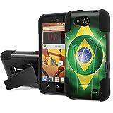 ZTE Speed Combat Case [NakedShield] [Black/Black] Heavy Duty Shock Proof Armor Art [Kickstand] Phone Case - [Brazil WorldCup Flag] for ZTE Speed [N9130]