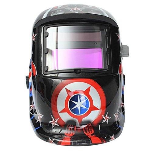 Solar Welder Mask Helmet Electrowelding Auto-Darkening Welding Helmet Captain America Pattern - - Amazon.com