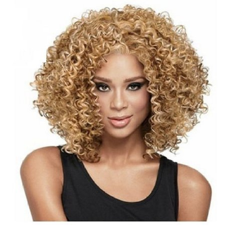 LongOu Afro curly wavy wig (Gold Afro Wig)