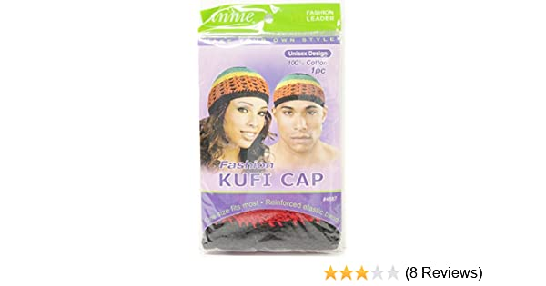 ANNIE UNISEX KUFI CAP ONE SIZE FITS MOST REINFORCED ELASTIC BAND 100/% COTTON