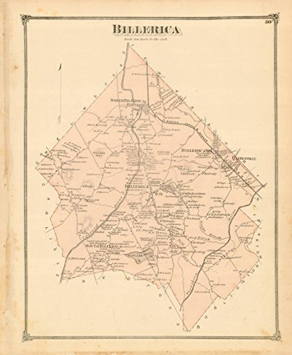 County Atlas of Middlesex Massachusetts, Billerica 1875 |24in x 18in Historic City Map Vintage (Map 1875 Atlas)