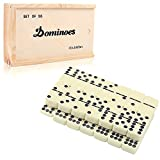Dominoes Set,DOUBLEFAN Classical Double 9 Dominos Set with Spinner 55pcs (2-7 Players)
