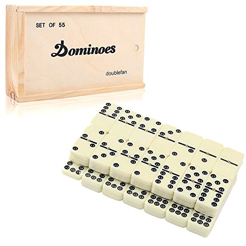 Dominoes Set for Kids, DOUBLEFUN Classical Double 9 Dominos Game Set with Spinner 55pcs (2-7 Players)