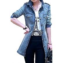 YACUN Women's Open Front Long Jeans Jacket Coat