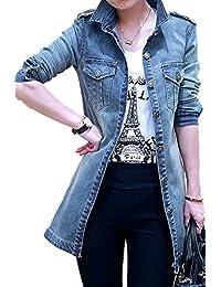 YACUN Women's Open Front Long Jeans Denim Jacket Blouses Tops