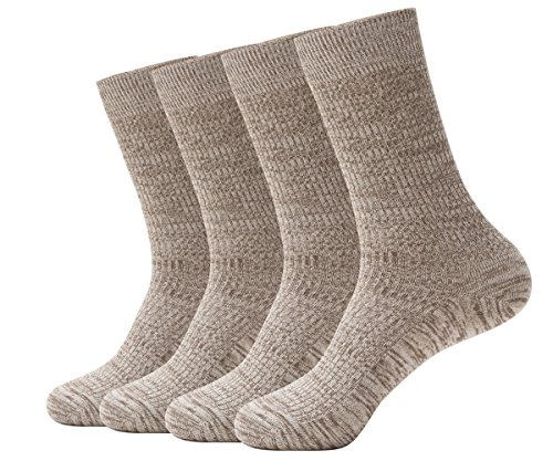 OLIVE OLIVIA Men's Classic Dress Knit Crew Socks 4-Pack Gift Set Linen