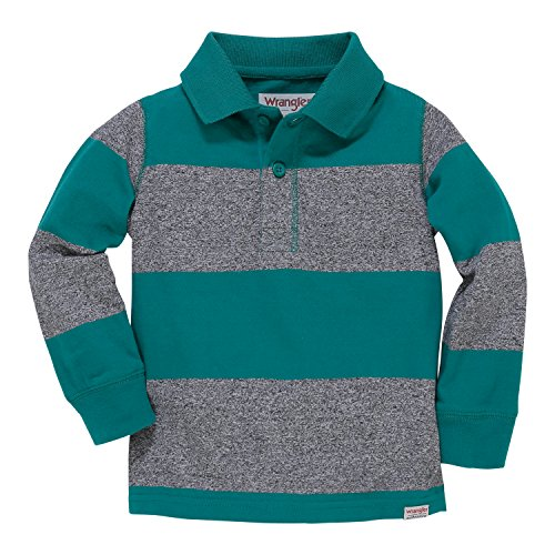 Wrangler Authentics Toddler Boys' Long Sleeve Knit Polo, Green/Navy/red Plaid, 2T