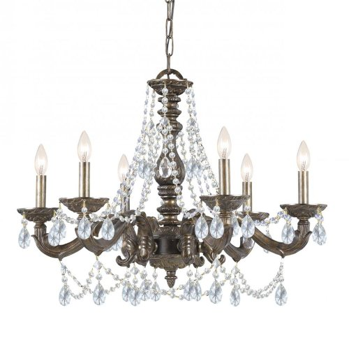 Crystorama 5026-VB-CL-MWP Traditional Six Light Chandelier from Paris Market collection in Bronze/Darkfinish, ()