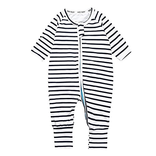 Kids Tales Newborn Baby Striped Footed Handed Zipper Pajama Sleeper Cotton Romper