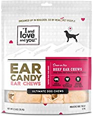 """I and love and you"" Ear Candy Cow Ear Strips - Grain Free Dog Chews, 100% Beef Cow Ears,"
