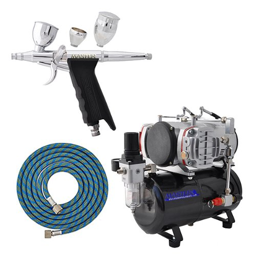 Master G76 .3mm D/A 3cup Trigger Airbrush with AirBrush-Depot TC-828 Twin (Trigger Airbrush Kit)