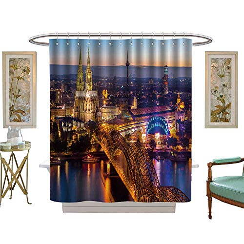 luvoluxhome Shower Curtains Fabric Cologne Cathedral and hohenzollern Bridge Cologne Germany Satin Fabric Bathroom Washable W72 x L84